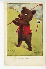 """On the Links"" Teddy Bear Playing GOLF Antique Golfing MDS Artist-Signed 1910s"