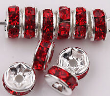 50/100X Czech Crystal Rhinestone Silver Rondelle Spacer Beads Charm Finding 8mm