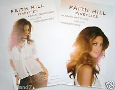 """FAITH HILL """"FIREFLIES"""" 2-SIDED U.S. PROMO POSTER-Sexy White Top, Sun Behind Her"""