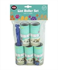 5 pack Pet Hair Lint Roller Fluff Dirt Dust Remover Carpet Furniture & 4 Refills