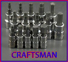 CRAFTSMAN 15pc 1/4 3/8 SAE METRIC Hex Allen key bit ratchet wrench socket set
