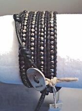 AUTHENTIC CHAN LUU Gun Metal Nuggets on Black LEATHER 5X Wrap Bracelet CL49B