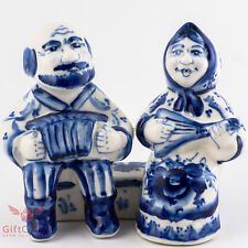 Porcelain Gzhel Figurine Old Man and Woman on the bench harmoniсa and balalaika