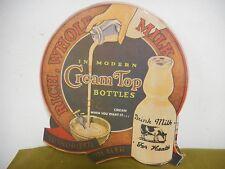 Vintage Cream Top Milk Bottle Dairy Store Dealer Ad Sign Litho Cardboard