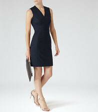 NWT $360 REISS Justine Textured Tailored Navy Blue Wool Shift Suit Dress ~ 10