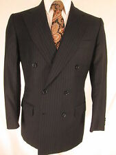 Luciano Barbera Mens Navy Stripe Double Breasted 6x2 S150s Blazer 40R
