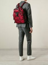 Authentic ALEXANDER MCQUEEN mens LEOPARD backpack red/black NWT