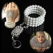 The Great Gatsby Bracelet Bangle Ring Rhinestone Crystal Pearls Bridal Wedding
