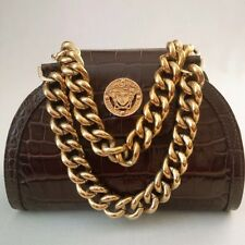 *MINT* VERSACE MEDUSA MEDALLION CHAINS CROC EMBOSSED LEATHER HANDBAG BROWN ITALY