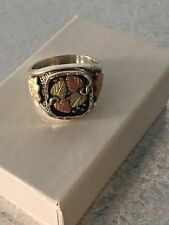 MENS BLACK HILLS GOLD 12Kt STERLING SILVER LEAVES & GRAPES RING 10 Grams
