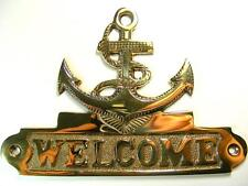 CAST BRASS ANCHOR WELCOME SIGN- OLD ANTIQUE VINTAGE STYLE SHIP MARINE NAUTICAL