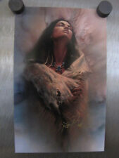 """Lee Bogle """"Stirrings of the Heart"""" signed Advertising Card Indian Maiden Series"""