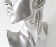 Gorgeous sparkly HUGE long silver tone & crystal - diamante cross drop earrings