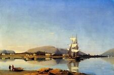 Oil painting Fitz Hugh Lane - Entrance of Somes Sound from Southwest Harbor 36""