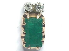 Natural Emerald Tie Tac .04ctw Diamonds 14kt Yellow Gold Includes Clutch GV87177