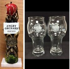 """Angry Orchard Hard Apple Cider Tap Handle 11"""" & Two/2 Angry Apple Glasses NEW FS"""