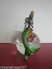 Pewter Mermaid Sitting On Top Of Solid Glass Ball With Bubbles Paper Weight - C