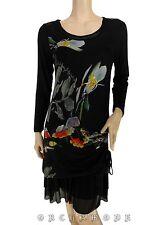 Robe ELLEA T. 40 L 3 Noir Floral Printemps Tunique NEUF Dress Vestido Kleid