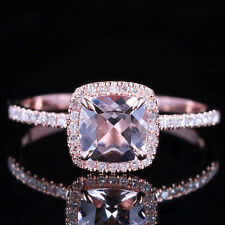 10K Rose Gold 6x6mm Cushion Pink Morganite Engagement Halo Diamond Fine Ring