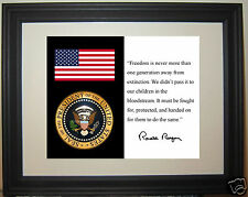 """Ronald Reagan American Flag w/ seal  """"away from"""" Quote Framed Photo Picture #tk1"""