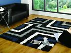 Tides Blue Grey Striped Modern Soft Runner Shaggy Cheap Small Rugs 60 x 230cm