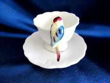 JAPAN PARROT BIRD HANDLE MINIATURE MINI HAND PAINTED FOOTED CUP AND SAUCER