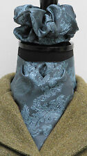 Ready Tied Airforce Blue and Sky Paisley Satin Riding Stock & Scrunchie - Show