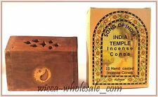 ONE ASST WOODEN SMALL COFFIN BOX INCENSE BURNER & ONE BOX OF SONG OF INDIA CONES