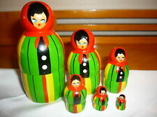 VINTAGE RUSSIAN NESTING DOLLS - SET OF 6 -  # 13