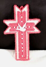 "Very Nice 6"" Hand Crafted Pink & White Yarn Crochet Cross with Dove"