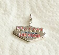 SILVER WELCOME TO LAS VEGAS CLIP-ON CHARM FOR BRACELETS - 3D- 925 SILVER PLATE