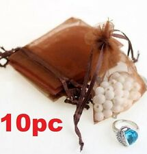 Coffee Organza Bag Pouch For Jewellery Holidays Wedding X'mas Gift 10PC