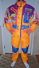 Vtg 80's Mens Mistral Hyperstyle Volvo snow ski bibs coat Neon orange Size Large
