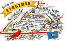 State map postcard Greetings from Virginia chrome large letter