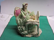 Antique Irish Dresden fine porcelain figurine lady at her writing desk new