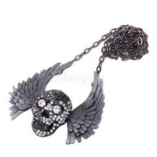 Punk Rhinestone Skull Skeleton & Bird Feather Wing Pendant Long Chain Necklace