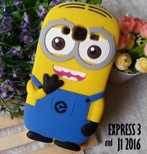 for Samsung Galaxy EXPRESS 3 / J1 -Soft Silicone Rubber Yellow Minion Case Cover