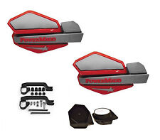 PowerMadd STAR Series Handguard Guards Mirror Mount Kit Red Silver Yamaha ATV