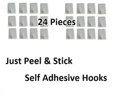 24 PC SELF ADHESIVE HOOKS STRONG KITCHEN BATHROOM WALL STICKY MINI STORAGE HOOK
