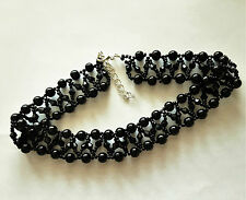 """Pearl & bicone Beaded CHOKER necklace VINTAGE style BLACK glass 13"""""""