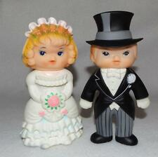 "Vintage 1976 Regent Baby Products Bride Groom Squeaky Toy Dolls 6"" Tall"