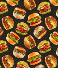 Fat Quarter Take Out Burgers Food 100% Cotton Quilting Fabric Blank Quilting
