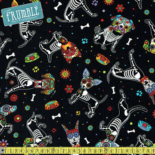 Timeless Treasures Fabric Day Of The Dead Pups Black PER METRE MexicanCandy Rock