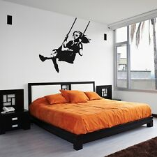 Banksy Girl Swinging Wall Decal for Home Decor / Interior Design / Bedroom / ...