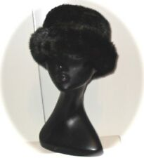 Black Brown Bucket Hat REVERSIBLE Faux MINK FUR Acrylic Moscow Style One Size