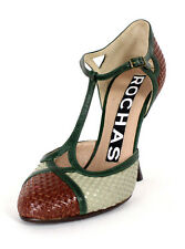 ROCHAS Multi-Color Basket Woven Leather T-Strap Mary Jane Pumps 36