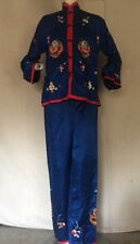 Vintage WWII 1940s Chinese Blue & Red Satin Pajama Lounge Set Dragon Embroidery