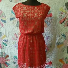 Annabella from Francesca's Casual Red Crochet Lace Dress Cap Sleeve  Size S