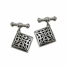 Square Celtic Cufflinks with Chain- 925 Sterling Silver - Trinity Knot Mens NEW