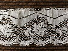 "Vintage Antique White French Lace Roses Over 4 Yards 2"" Wide"